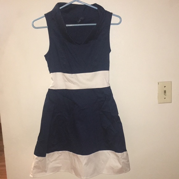 blue sand Dresses & Skirts - Women's navy and white cowl neck  dress